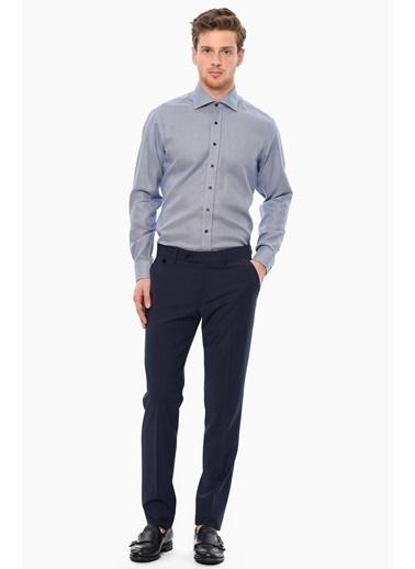 NetWork Slim Fit Uzun Kollu Desenli Gömlek Mavi